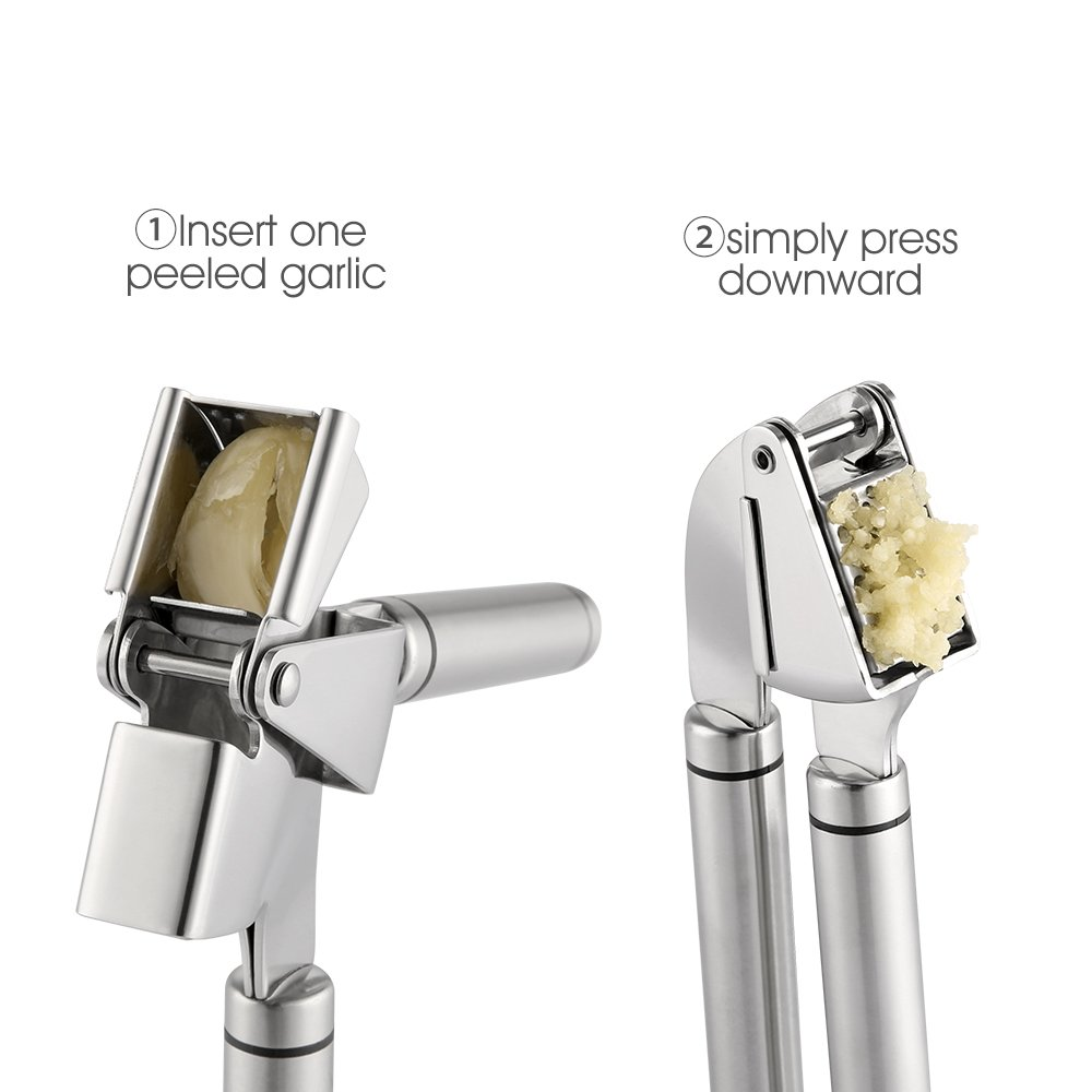 Anti-slip Handle Labor-Saving for Home Chef Silver zanmini Stainless Steel Ginger Squeezer