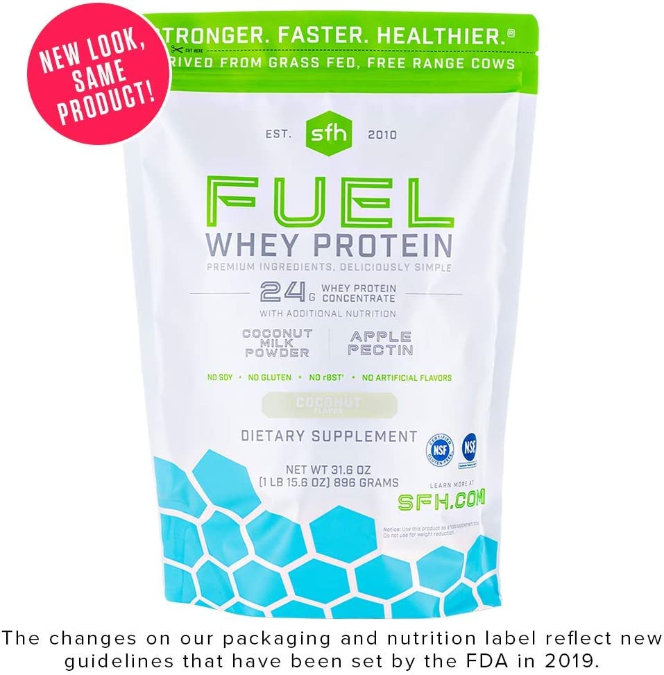 Fuel Whey Protein Powder Coconut by SFH Great Tasting Grass Fed Whey MCTs Fiber for Energy All Natural Soy Free, Gluten Free, No RBST, No Artificial Flavors 28 Servings 2 lb Bag