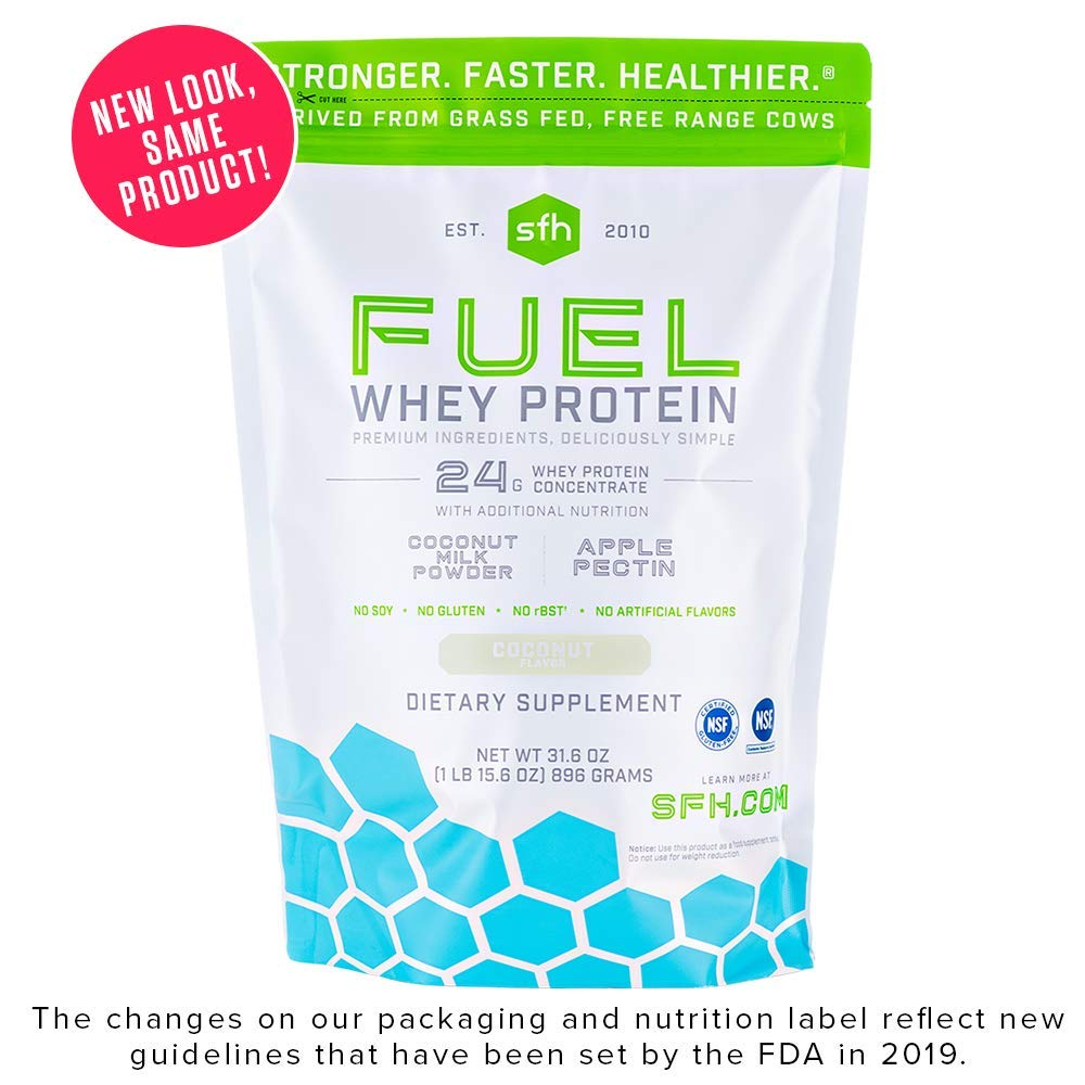 Fuel Whey Protein Powder (Coconut) by SFH | Great Tasting Grass Fed Whey | MCTs & Fiber for Energy | All Natural | Soy Free, Gluten Free, No RBST, No Artificial Flavors | 28 Servings (2 lb Bag) by SFH