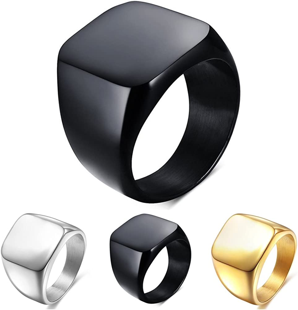 Solid Polished Mens Signet Rings Stainless Steel Biker Ring for Men  Gold