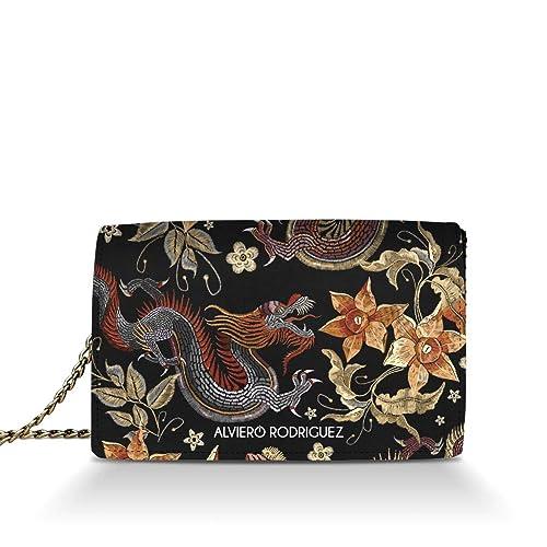 f6e554ca6b Alviero Rodriguez Borsa Donna Japanese Dragon Giappone Oriente in Vera Pelle  (Catena Argento): Amazon.it: Scarpe e borse