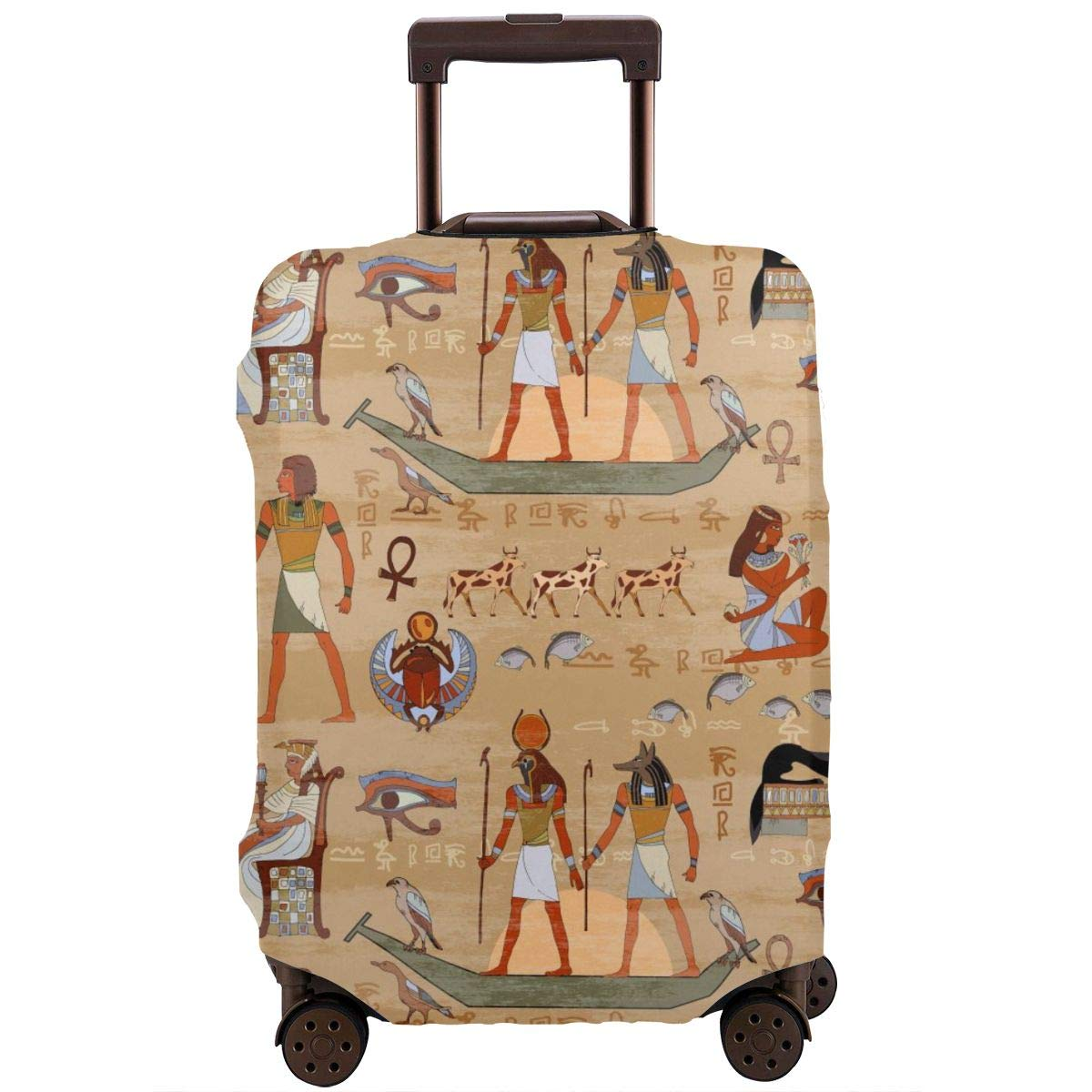 Egyptian Hieroglyphs And Pharaohs Travel Luggage Cover Suitcase Protector Washable Zipper Baggage Cover