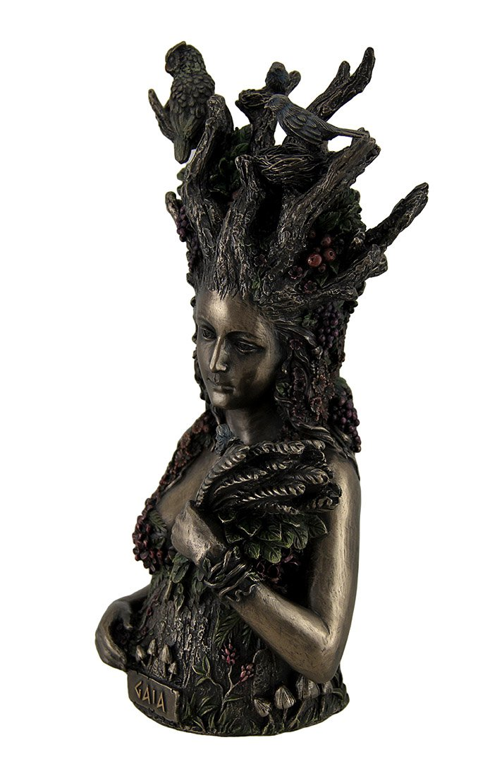Resin Statues Statue Of Gaia Greek Mother Earth Goddess Ancestral Mother Of All Life 4.75 X 9.75 X 4.25 Inches Bronze