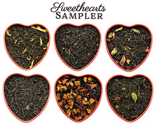Heart Wedding Sampler (Sweetheart Loose Leaf Tea Sampler in Red Heart Tins w/ 6 Varieties of Tea Including Spicy Lover's Chai, Vanilla Black Tea, Passion Peach Tea, Rose & More, Tea Gift Set)