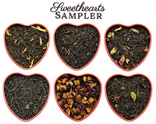 Sweetheart Loose Leaf Tea Sampler in Red Heart Tins w/ 6 Varieties of Tea Including Spicy Lover's Chai, Vanilla Black Tea, Passion Peach Tea, Rose & More, Tea Gift (Sampler Gift Tin)