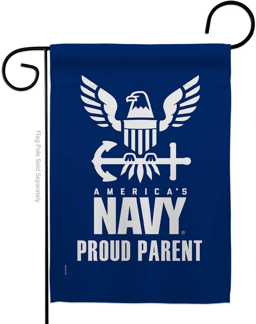 Proud Navy Parent Garden Flag - Armed Forces USN Seabee United State American Military Veteran Retire Official - House Decoration Banner Small Yard Gift Double-Sided Made in USA 13 X 18.5
