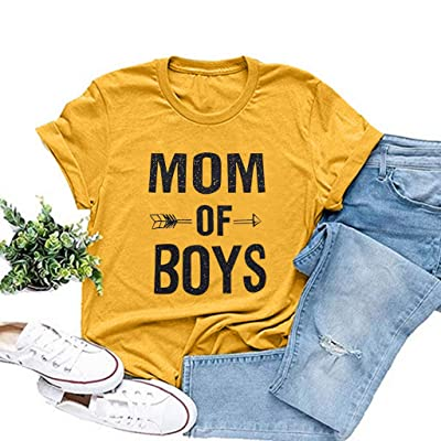 MOM of Boys Shirt Tees for Women Letter Print Tees Sunflower Casual Short Sleeve Valentine's Gift Tops at Women's Clothing store