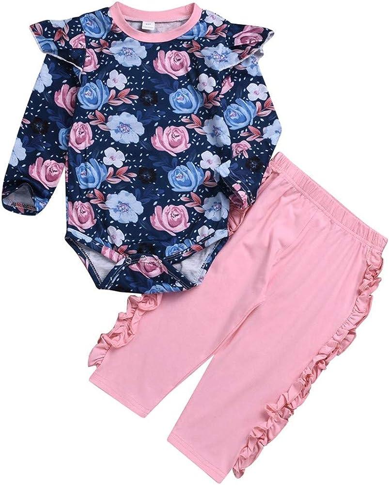 Hose Fenverk 3 St/ück Weich Kleinkind S/äugling Baby M/ädchen Beil/äufig Blumen Drucken Kleider Set Lange /Ärmel Tops Hut Outfits 6-24 Monat