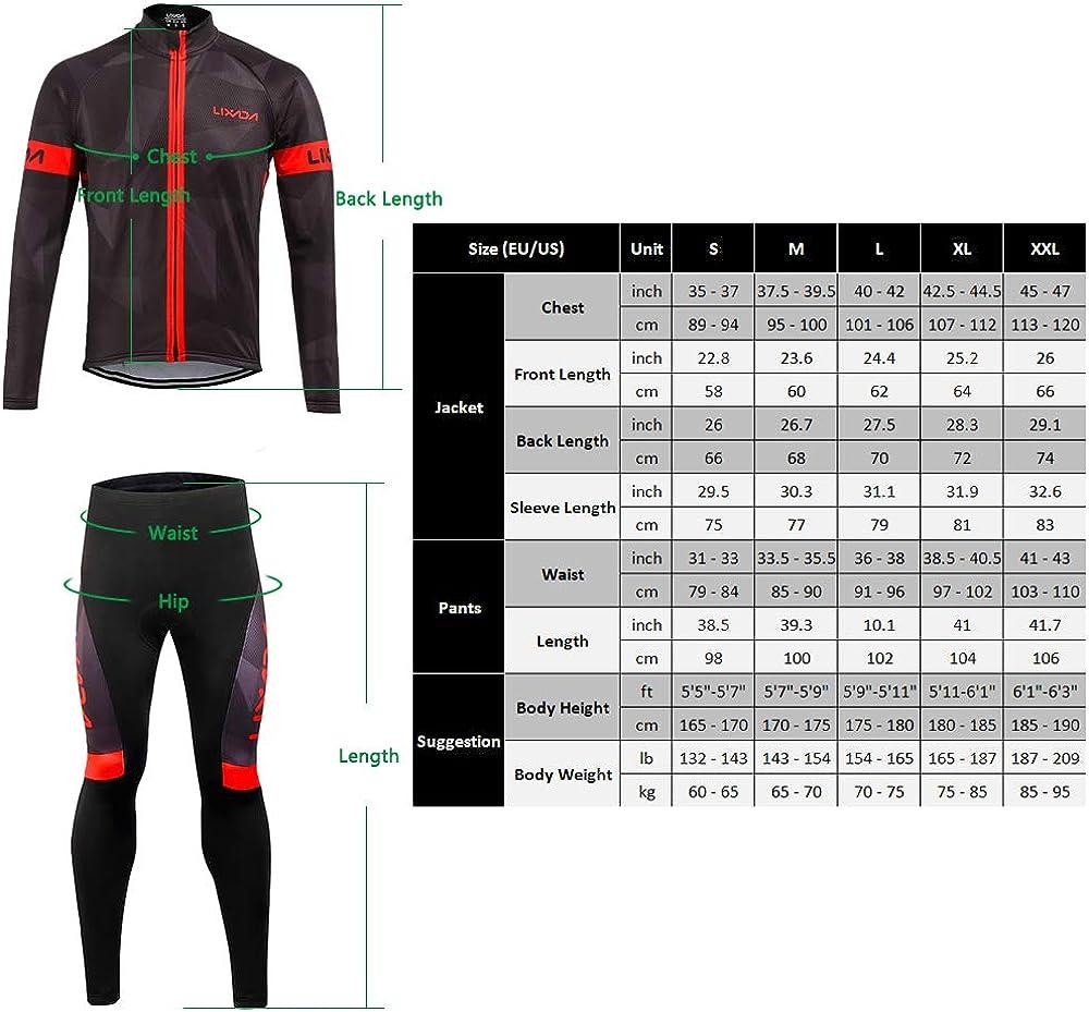 Lixada Mens Cycling Jersey Suit Winter Thermal Fleece Long Sleeve Mountain Bike Road Bicycle Shirt Padded Pants