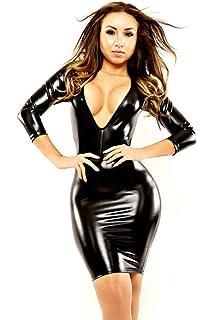 5b838c85bbd1 nuoke Plus Size 2017 Women Sexy Leather Latex Mini Dress Deep V Wetlook  Slim Hip Pole