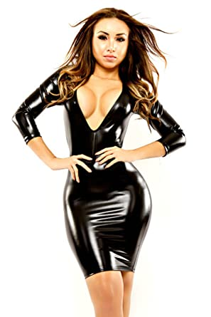 09fa8587fc0 Amazon.com  nuoke Plus Size 2017 Women Sexy Leather Latex Mini Dress Deep V  Wetlook Slim Hip Pole Dance Clothes Catsuit  Clothing