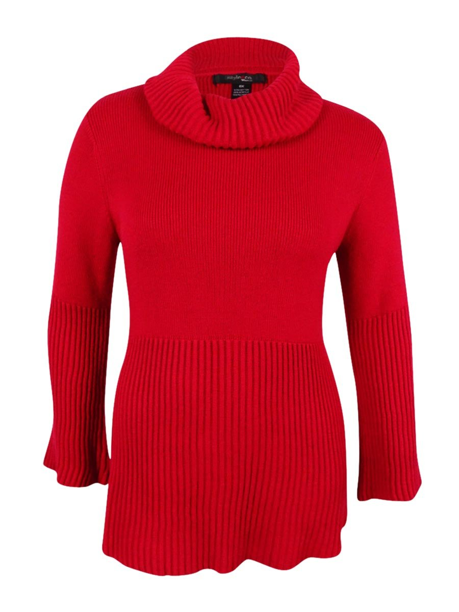 Style & Co. Womens Plus Cowl Neck Bell Sleeve Pullover Sweater