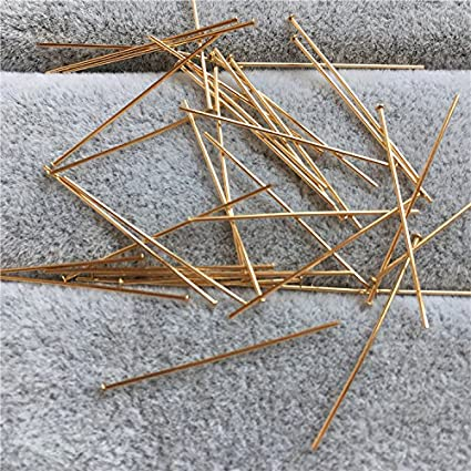 200 PCS Flat Head Pins Jewelry Making Needles Earrings Beading Findings Bracelets Necklaces Beads Connector Accessories Materials KC Gold, Head Pin 35 mm