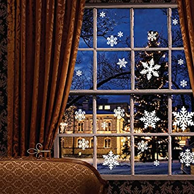 81 pcs White Snowflakes Window Clings Decal Stickers Christmas Winter Wonderland Decorations Ornaments Party Supplies (3 Sheets) by Moon Boat