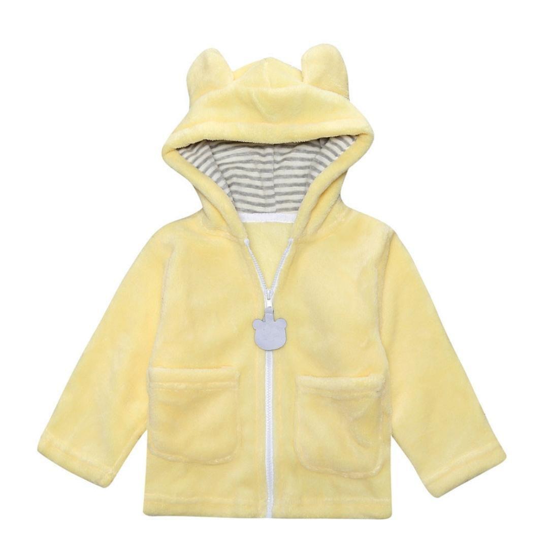 KONFA Baby Girls Boys Solid Color Cartoon Bear Hooded Coat, Suitable for 0-24 Months, Autumn Zipper Warm Cloak Tops 0-6 Months) Konfa_Coat