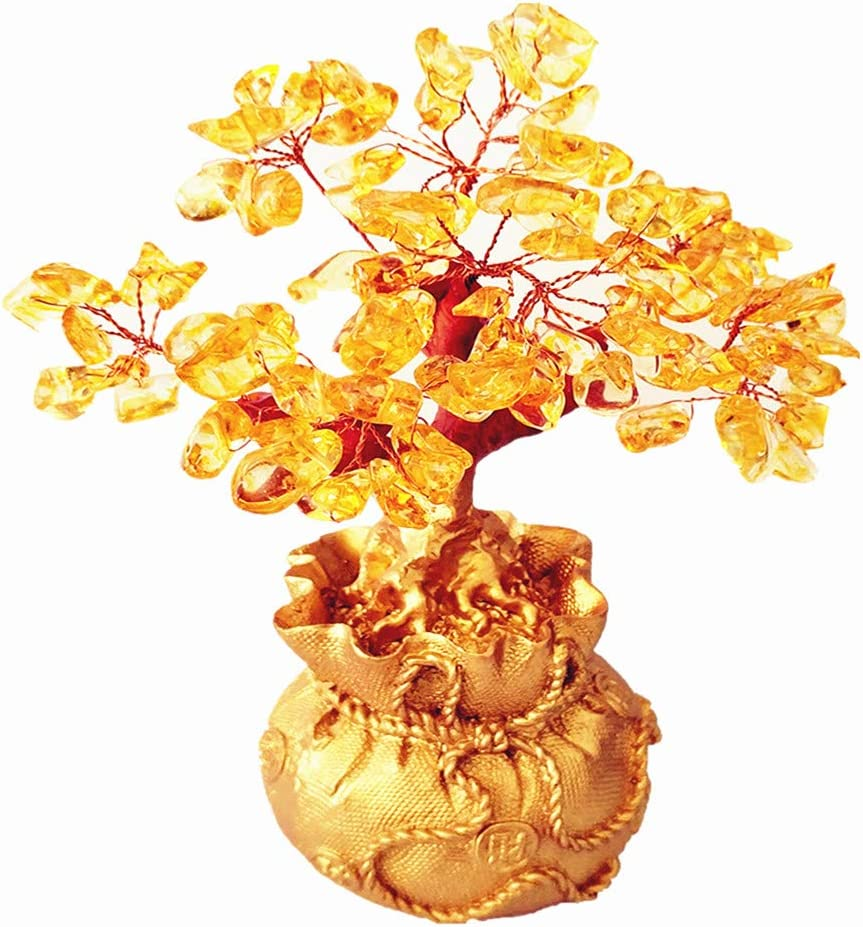 Colorsheng Feng Shui Citrine Quartz Crystal Money Tree Bonsai Style Decoration for Luck and Wealth (Purse)