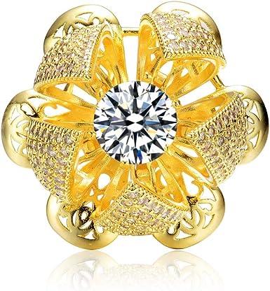 Flower Fashion 18K Gold Plated Handmade Brass Zirconia Ring Jewelry