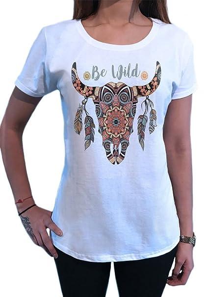 Top de Mujer Salvaje de Cráneo de Vaca Plumas Americanas de Color Rojo Azteca Indio TS1439: Amazon.es: Ropa y accesorios