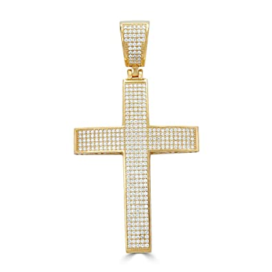 6d3dda113e8e7 Harlembling Solid 925 Sterling Silver Iced Out Cross Pendant - 14k ...
