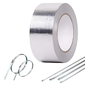 Heat Shield Resitant Resistant Tape - 16ft Long x 2 Inch Wide Self Adhesive High Temperature Thermal Wrap Tape with Metal Zip Ties Silver
