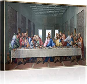 """Wall Decor for Living Room The Last Supper,Leonardo Da Vinci Classic Wal Art Oil Painting on Canvas Print and Museum Quality Framed Gallery Wrap Artwork Stretched Ready To Hang (12""""x18""""x1, Artwork-2)"""