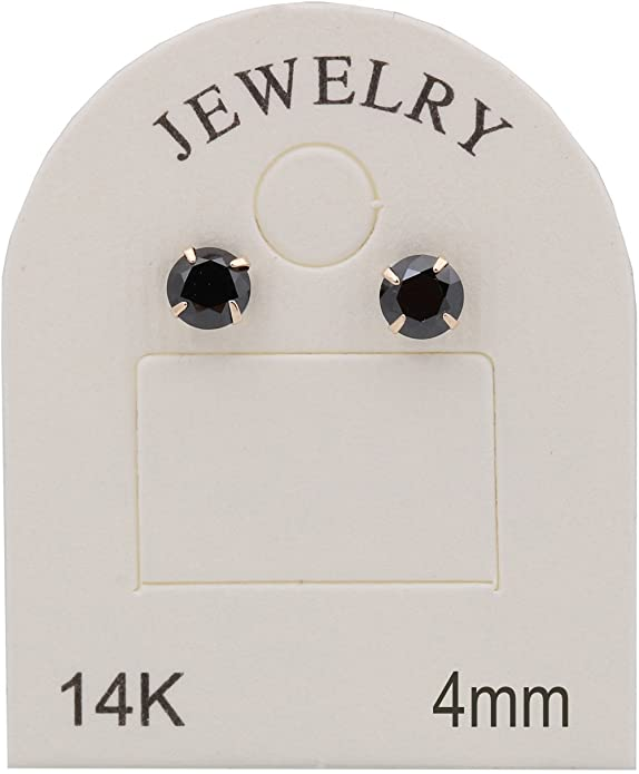 34623a9bcc14 galaxyjewelry 4mm Ónice redonda Pendientes de Oro Amarillo de 14K Aretes