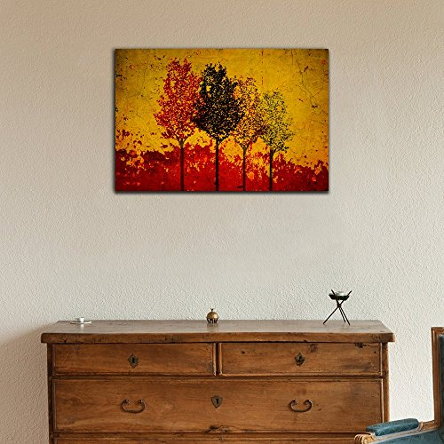 Abstract Trees on Grunge Yellow and Red Background