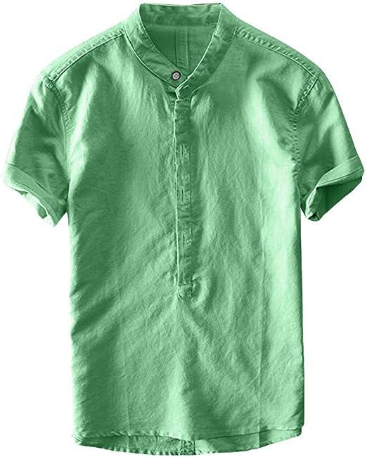YpingLonk Camisa de los Hombres Top Moda de Verano Fresco Delgado ...