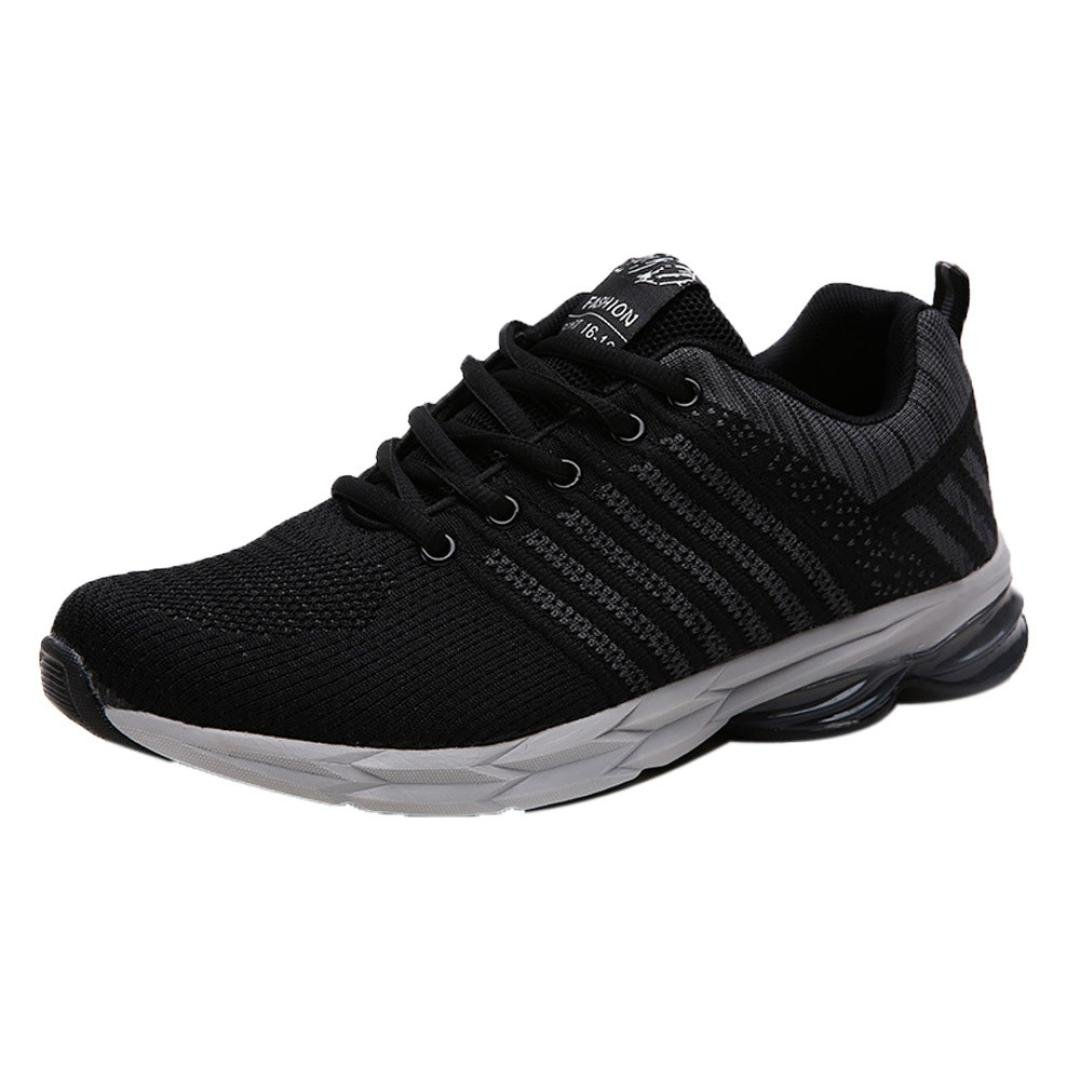 Mens Casual Breathable Sports Shoes Fashion Lace-Up Blade Outdoor Gym Running Sneakers (Black, US:9)