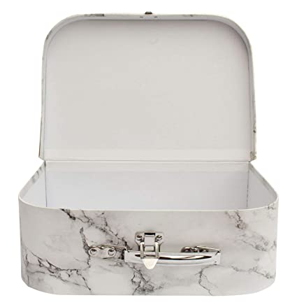 Emartbuy Set di 3 Presentazione di Lusso Rigida Stampa in Marmo Bianco Interno Bianco Con Manico in Metallo e Chiusura Valigia Scatola Regalo