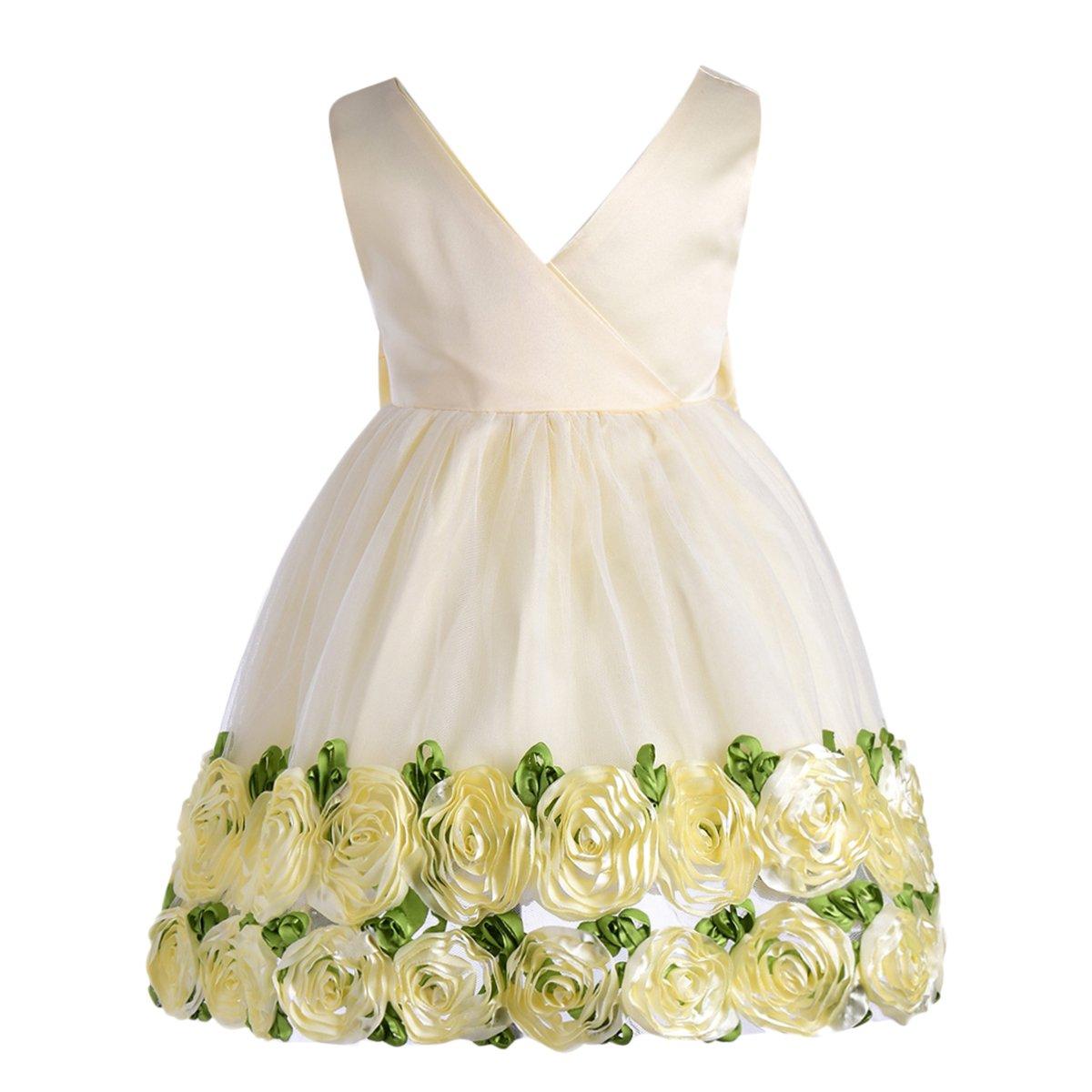 OBEEII Flower Girl Tutu Dress Wedding Birthday Party Formal Event