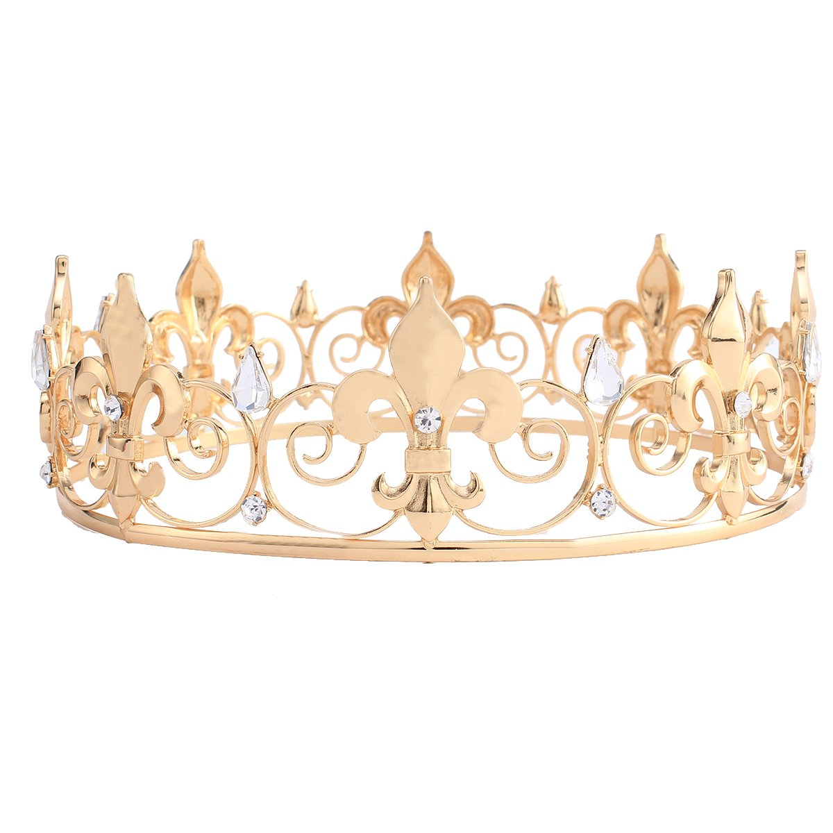 Yanhonin Bridal Crown Tiara Crystal Blue Gold Wedding Headband for Women