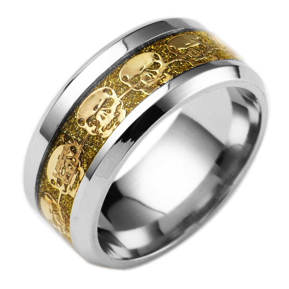 WoCoo Stainless Steel Ring Punk Skull Inlaid with Beveled Edge&Silver Plated(Gold,Size 6)