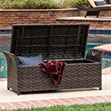 Christopher Knight Home Wing Outdoor Wicker Storage Bench Brown