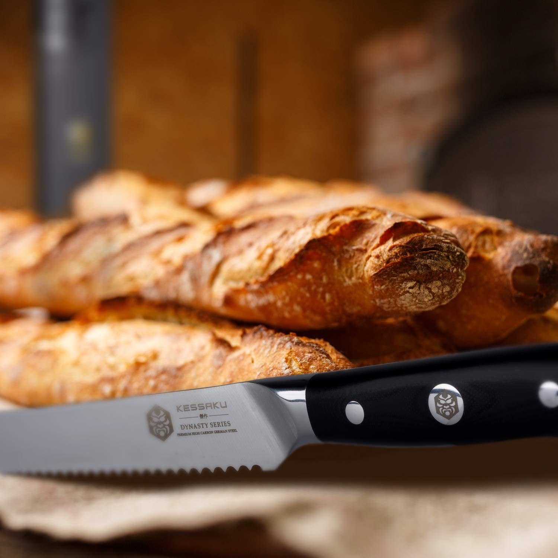 Kessaku Bread Knife - Dynasty Series - German HC Steel, G10 Full Tang Handle, 8-Inch by Kessaku (Image #4)