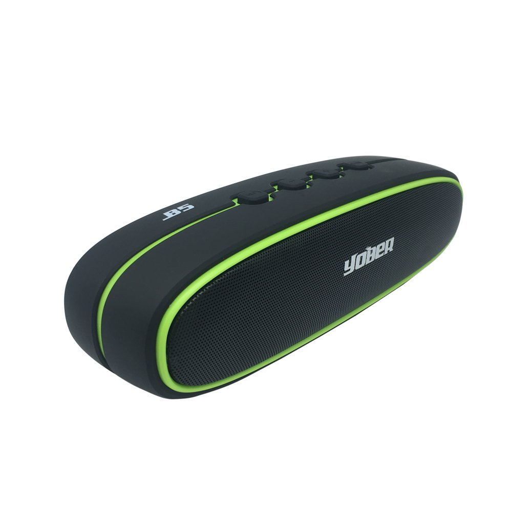 High Fidelity Portable Wireless Bluetooth Speakers with 2 X 5W Stereo Speakers,1500mah Rechargeable Battery, Microphon,TF Card,USB,FM (Black Green)
