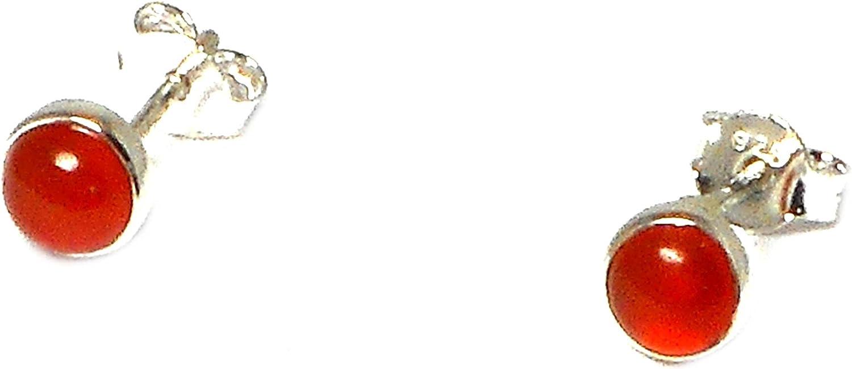 Cornalina Plata de Ley 925redondo Gemstone Stud/pendientes–4mm–(cst2209151)