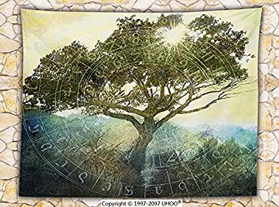 Tree of Life Decor Fleece Throw Blanket Sun Shining through Tree Ancient Astrology Chart Bohemian Style Art Print Throw Green Yellow Blue