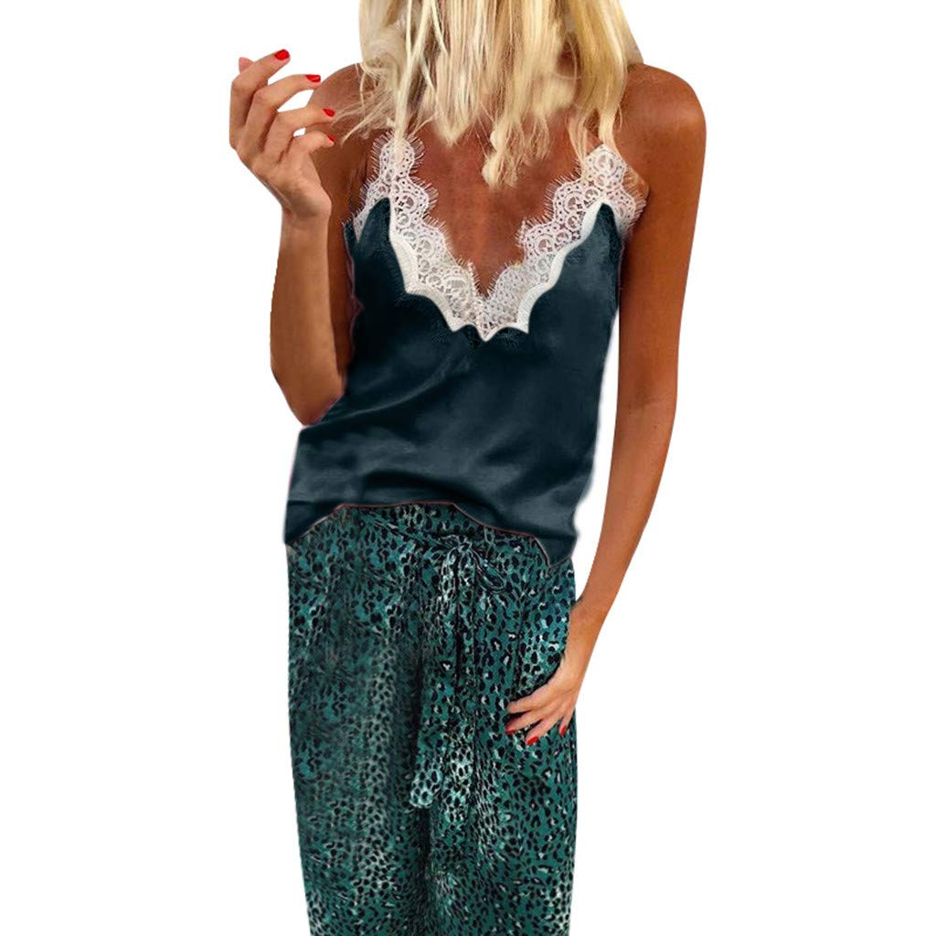 Sexy Women's Silk Tank Top Lace Patchwork Ladies Camisole Silky Loose Sleeveless Blouse Tank Shirt with Soft Satin Green