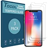 [3 PACK] Tocol for iPhone X Screen Protector Tempered Glass [9H hardness] [3D Touch] [Bubble Free] with Lifetime Replacement Warranty