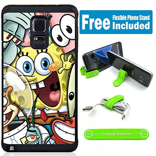 Galaxy Note 4 Hybrid Case Cover with Flexible Phone Stand - Sponge Bob Friends (Note 4 Case Spongebob)