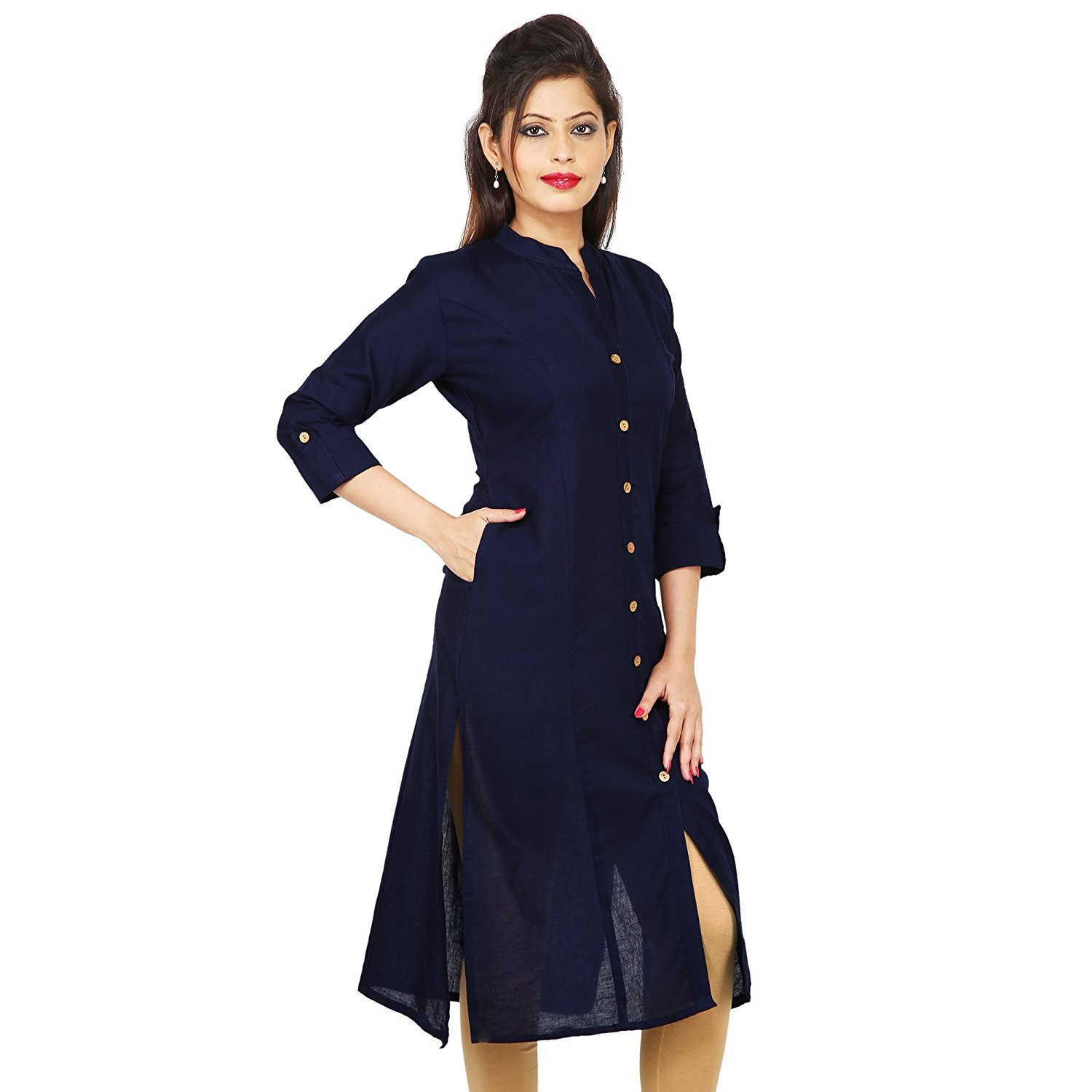 4be96312581 Pistaa Women s Navy Blue Straight Primium Cotton Front Slit Kurti With Plus  Size  Amazon.in  Clothing   Accessories