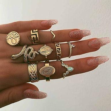 Flower Snake Ring RINGS Set Women Rings 10-Piece Set FREE SHIPPING
