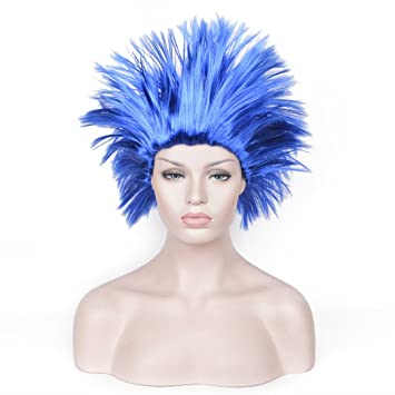 SiYi Short Blue Straight Wigs Thing 1 Thing 2 - Dr.seuss Fairy Tale Costume 3549ec659e