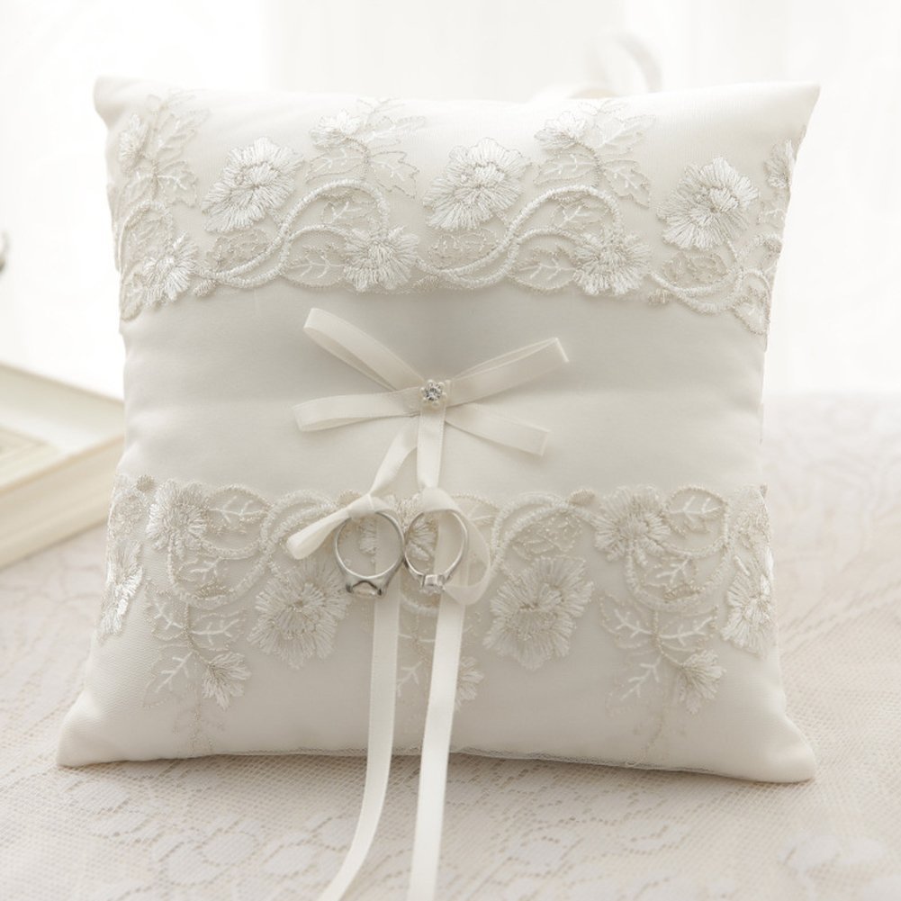 Amajoy Ivory Wedding Ring Pillow Ring Cushion with Lace Flower, 8.2 Inch (21cmx 21cm) Ring Bearer for Beach Wedding, Wedding ceremony by Amajoy