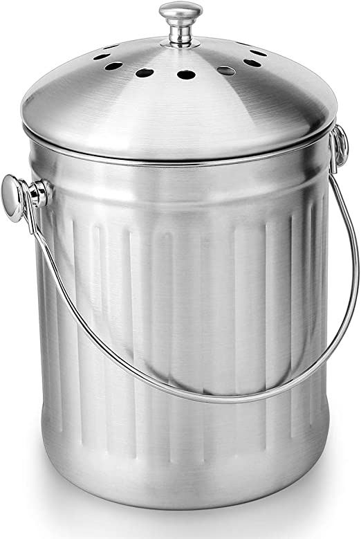 Amazon Com Enloy Compost Bin Stainless Steel Indoor Compost Bucket For Kitchen Countertop Odorless Compost Pail For Kitchen Food Waste With Carrying Handle 1 3 Gallon Easy To Clean Kitchen Dining