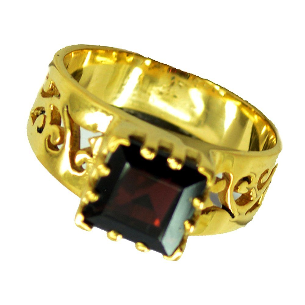 Real Garnet Chakra Healing Gold Plated Ring For Women Birthstone Square Shape Jewelry 5,6,7,8,9,10,11,12