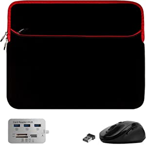Mouse, Hub, Laptop Sleeve 15.6 inch for Dell Inspiron 3000 3505 3583 Latitude 7400 5400 7480 E7470, Gaming G3 15 3500, Vostro, Precision (Black Red)