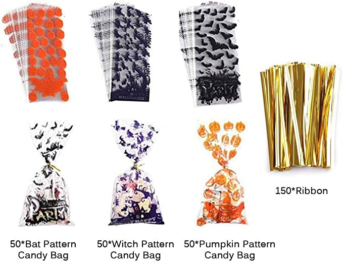 3 Patterns Pumpkin Bat and Spider Design A lkjf 150PCS Halloween Cellophane Snack Bags Clear Candy Cookie Treat Bags
