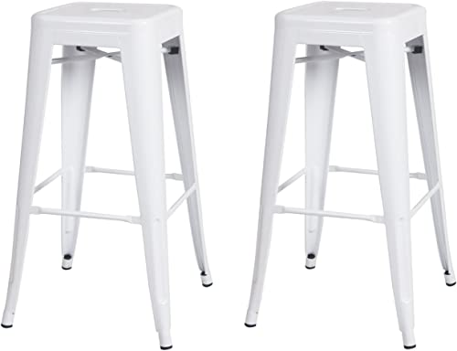 Joveco 30 Inches Sheet Metal Frame Tolix Style Industrial Chic Chair Backless Bar Stool